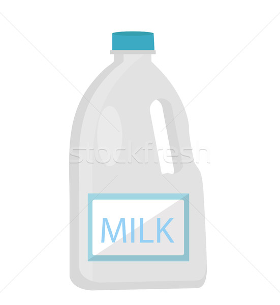 Milk in plastic bottles icon flat style. Isolated on white background. Vector illustration. Stock photo © lucia_fox