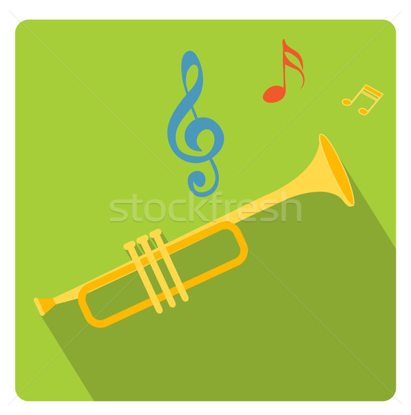 Trumpet musical instrument icon flat style with long shadows, isolated on white background. Vector i Stock photo © lucia_fox