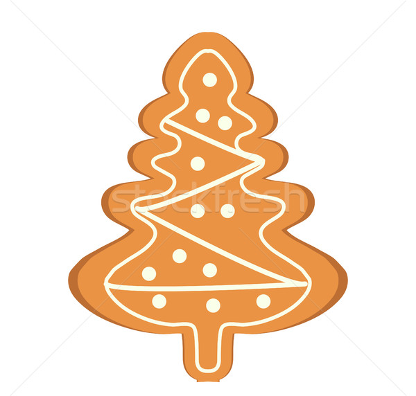 Gingerbread in the form of Christmas tree vector icon. Isolated on white background. Stock photo © lucia_fox