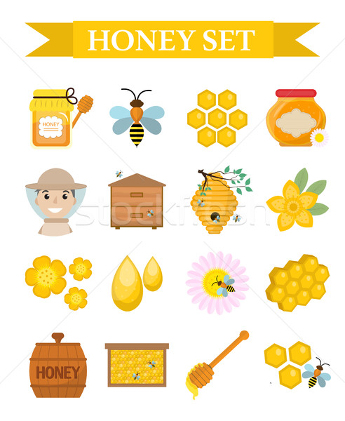 Honey icon set, flat, cartoon style. Beekeeping collection of objects isolated on white background.  Stock photo © lucia_fox