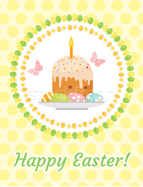 Stock photo: Happy Easter greeting card, flyer, poster with Easter cake and eggs. Spring cute template for your d