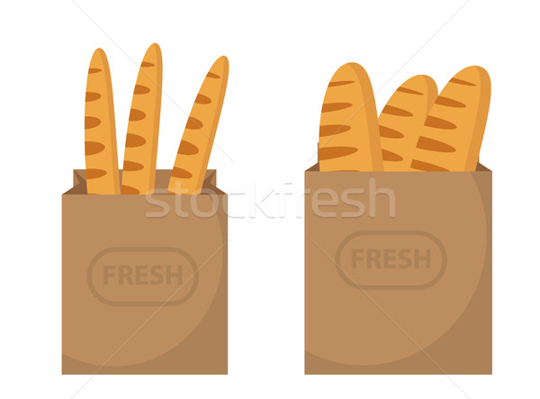 Bread in a paper bag. Loaf, Baguette in the papers package. Vector illustration, clip art. Stock photo © lucia_fox
