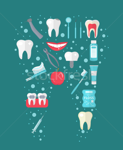 Dental icon set in tooth form, flat style. Stomatology kit .Dentistry collection of design elements. Stock photo © lucia_fox