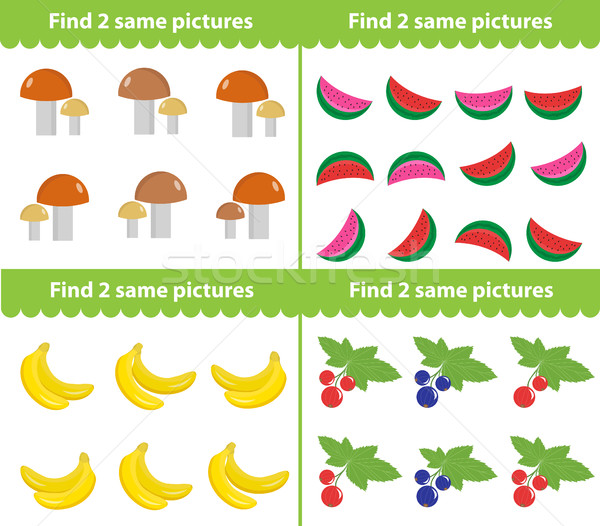 Children s educational game. Find two same pictures. Vector illustration Stock photo © lucia_fox