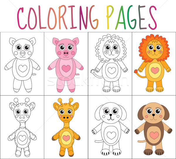 Coloring book page set. Animals collection. Sketch and color version.  for kids. Childrens education Stock photo © lucia_fox