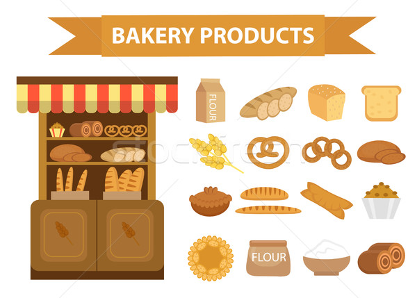 Pékség termékek ikon gyűjtemény stílus különböző kenyér Stock fotó © lucia_fox