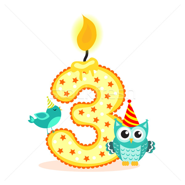 Happy Third Birthday Candle and Animals Isolated on white. The number three. Vector illustration Stock photo © lucia_fox
