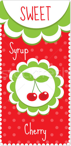 Sweet fruit labels for drinks, syrup, jam. Cherry label. Vector illustration Stock photo © lucia_fox