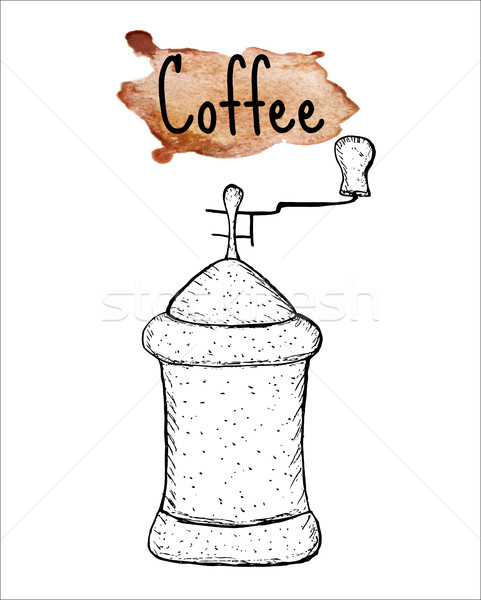 Kávé daráló rajz felirat vízfesték kéz Stock fotó © lucia_fox