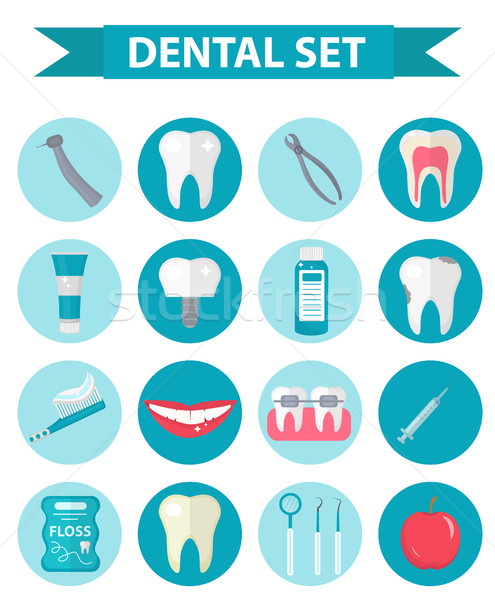 Dental icon set, flat style. Stomatology kit isolated on white background.Dentistry collection of de Stock photo © lucia_fox
