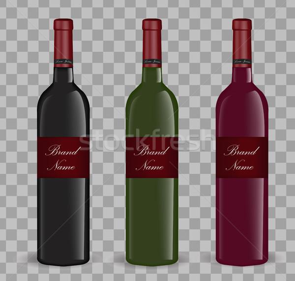 Realistyczny butelkę wina zestaw odizolowany biały 3D Zdjęcia stock © lucia_fox