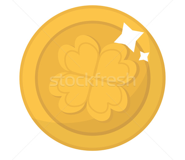 Gold coin with clover, icon flat style. St. Patrick's Day symbol. Isolated on white background. Vect Stock photo © lucia_fox