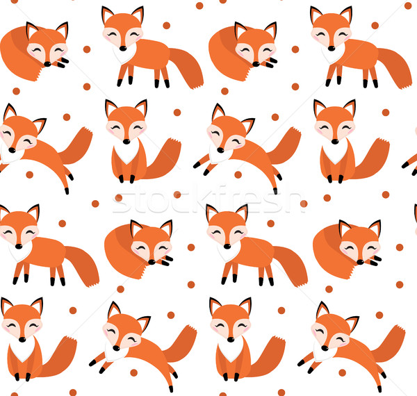 Cute fox seamless pattern. Foxy endless background, texture. Children s backdrop. Vector illustratio Stock photo © lucia_fox