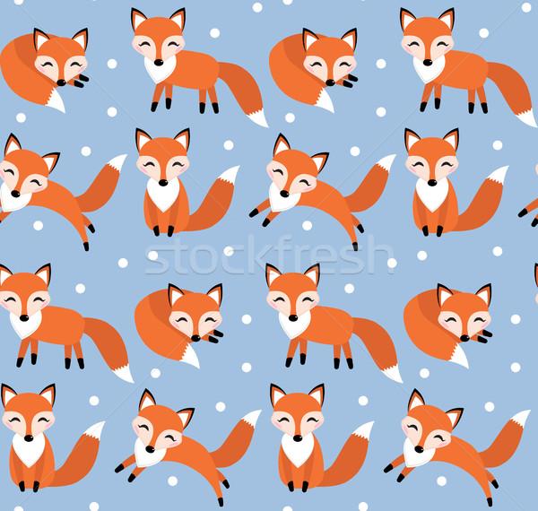 Cute fox seamless pattern. Foxy endless background, texture. Children s backdrop. Vector illustratio Stock photo © lucia_fox