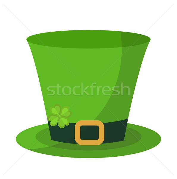 Green hat cylinder, flat style icon. St. Patrick's Day symbol. Isolated on white background. Vector  Stock photo © lucia_fox