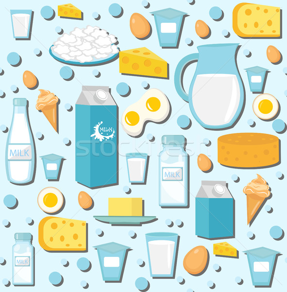 Dairy products seamless pattern with milk, cheese. Dairies background, texture, paper. Vector illust Stock photo © lucia_fox