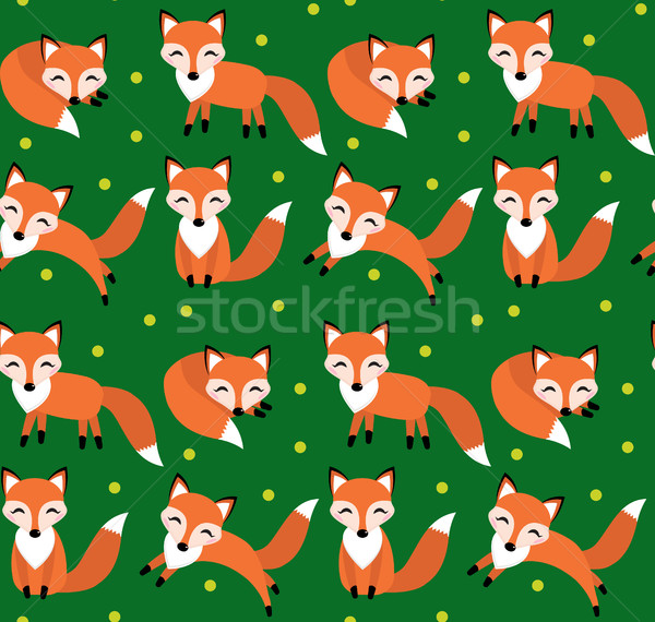 Aranyos róka végtelen minta végtelen textúra gyerekek Stock fotó © lucia_fox