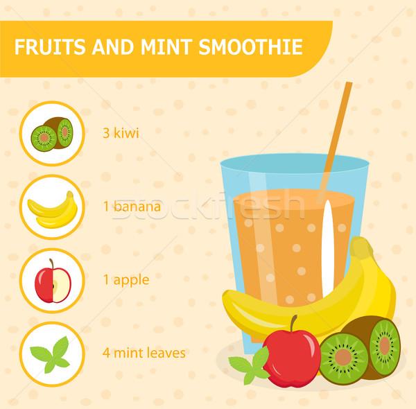 Gyümölcs menta smoothie recept hozzávalók detoxikáló Stock fotó © lucia_fox