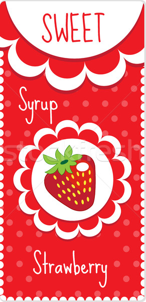 Sweet fruit labels for drinks, syrup, jam. Strawberry label. Vector illustration Stock photo © lucia_fox