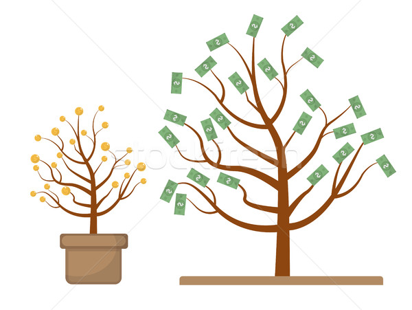 Tree with money. Coins and dollars. Evolution, growth, progressive concept. Flat design, isolated wh Stock photo © lucia_fox