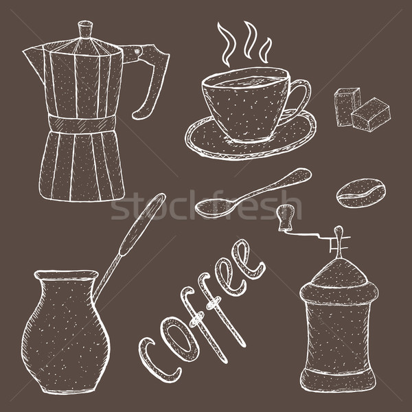 Ensemble café croquis outil main dessin Photo stock © lucia_fox