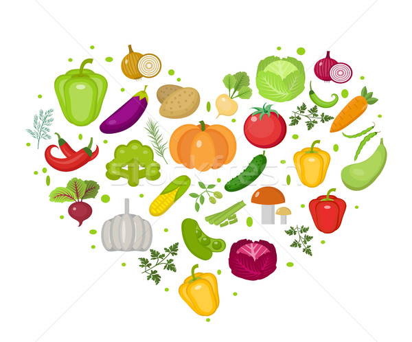 Vegetables icon set in heart shape. Flat style. Isolated on white background. Healthy lifestyle, veg Stock photo © lucia_fox