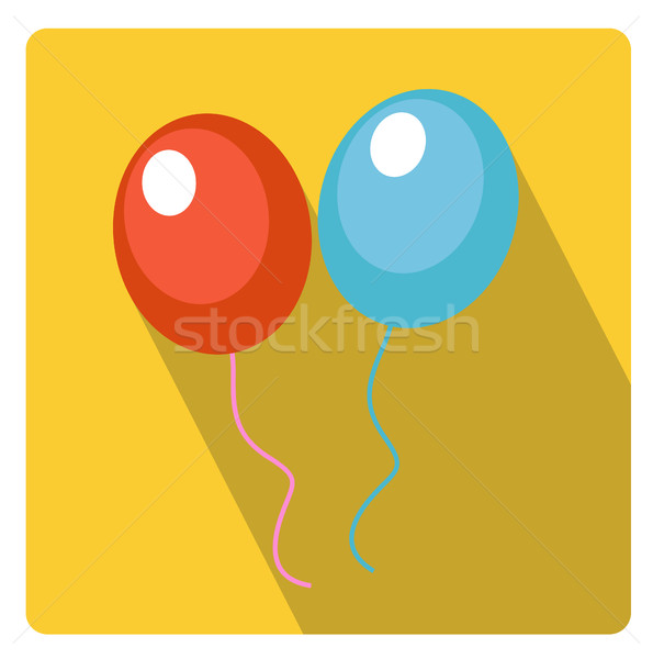 Léggömbök ünneplés ikon stílus hosszú árnyékok Stock fotó © lucia_fox