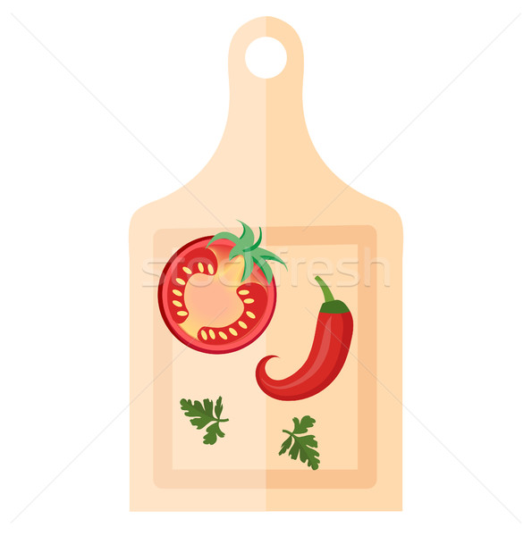 Wooden board for cutting vegetables with peppers and tomato icon, flat style. Isolated on white back Stock photo © lucia_fox