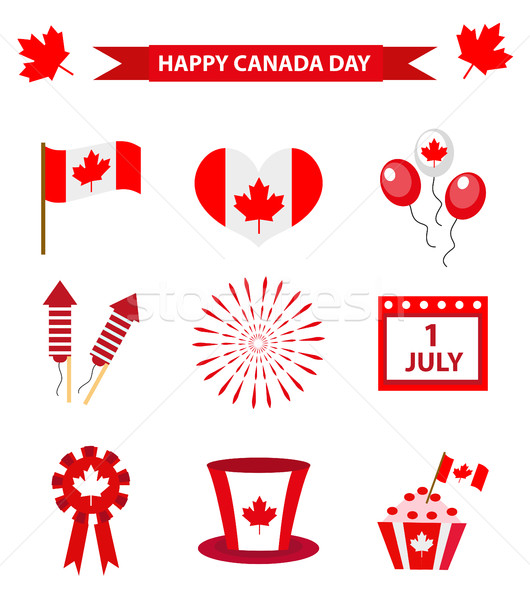 Happy Canada Day icons set, design elements, flat style. July 1 National Day of Canada holiday colle Stock photo © lucia_fox