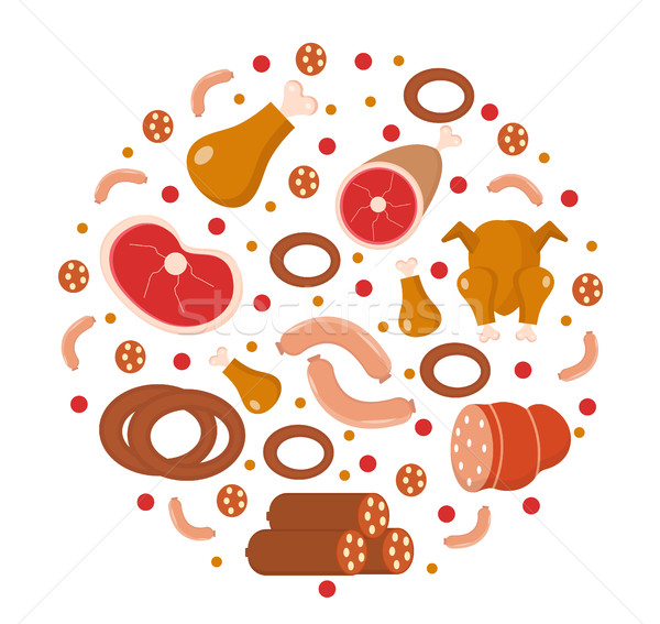 Meat and sausages icon set in round shape, flat, cartoon style. isolated on a white background. prod Stock photo © lucia_fox