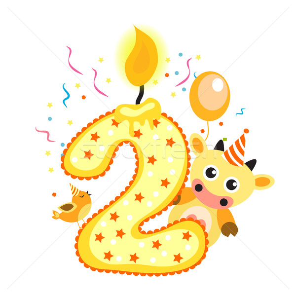 Happy Second Birthday Candle and Animals Isolated on white. The number two. Vector illustration Stock photo © lucia_fox