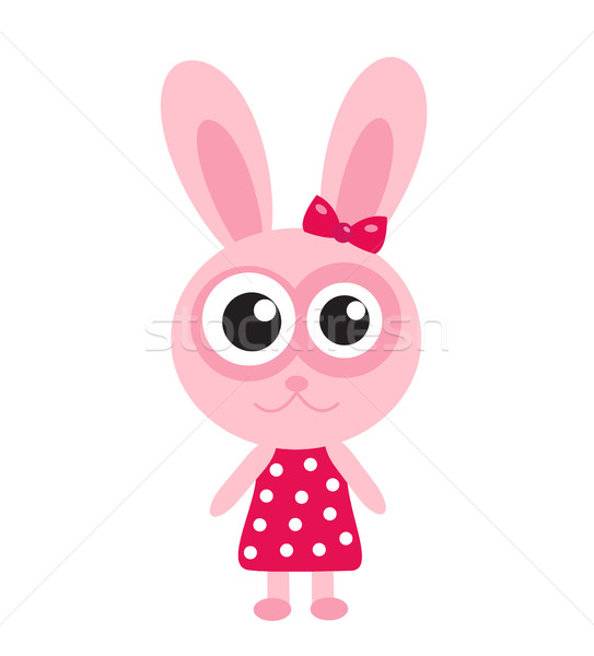 Cute pink bunny, rabbit icon, flat design. Isolated on white background. Vector illustration, clip a Stock photo © lucia_fox