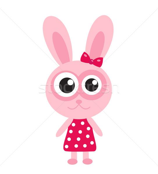 Cute roze bunny konijn icon ontwerp Stockfoto © lucia_fox