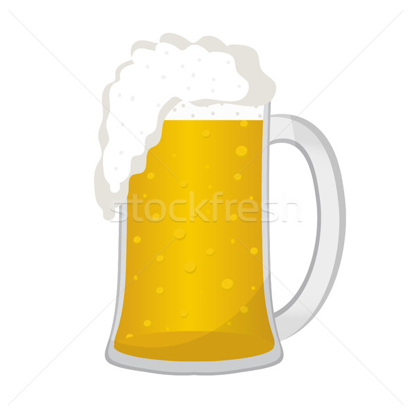 Beer in a glass mug, icon flat style. Isolated on white background. Vector illustration. Stock photo © lucia_fox