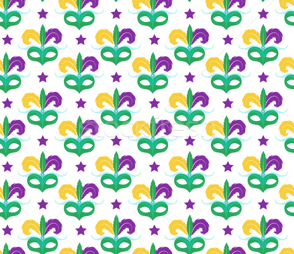 Stock photo: Mardi Gras seamless pattern with carnival mask. Masquerade background, texture, paper. Vector illust