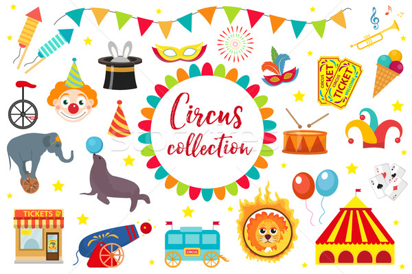 Circus Collection, flat, cartoon style. Set isolated on a white background. Kit with elephant, tent, Stock photo © lucia_fox