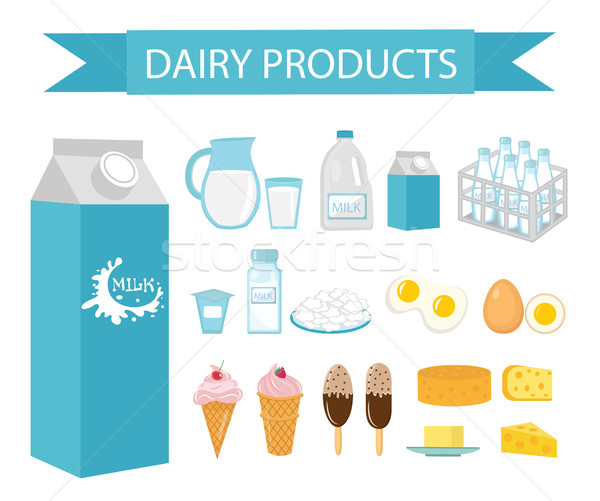 Dairy products icon set, flat style  Milk isolated on white