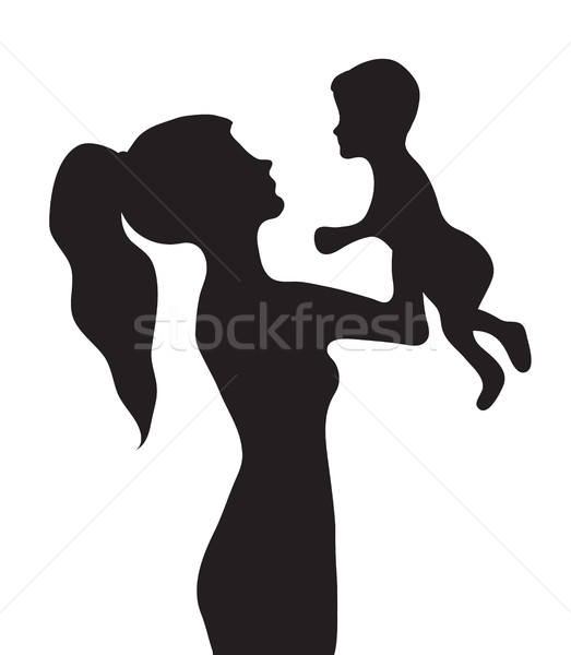 Woman with a baby silhouette. Girl holding baby vector illustration Stock photo © lucia_fox
