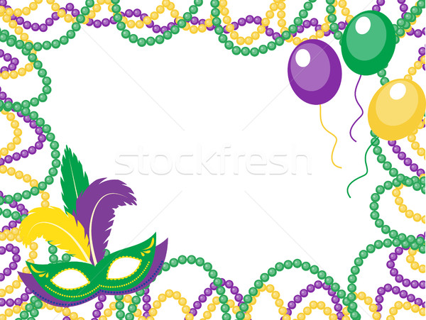Mardi Gras beads colored frame with a mask and balloons, isolated on white background. Vector illust Stock photo © lucia_fox