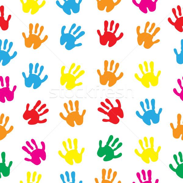 детей рук стороны бесшовный текстуры ладонями Сток-фото © lucia_fox
