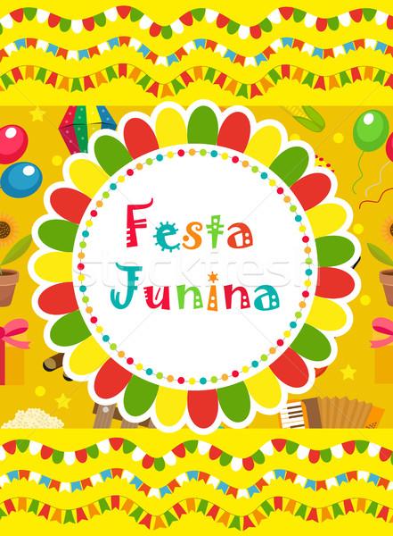 Festa Junina greeting card, invitation, poster. Brazilian Latin American festival template for your  Stock photo © lucia_fox