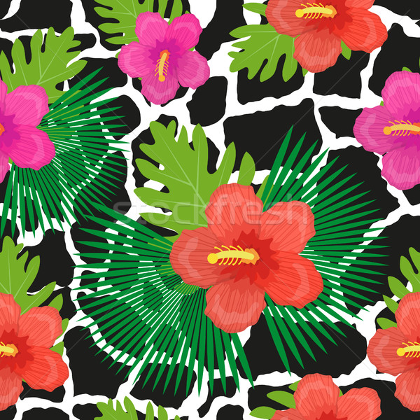 Tropical flowers, plants, leaves and animal skin seamless pattern. Summer Endless floral background. Stock photo © lucia_fox