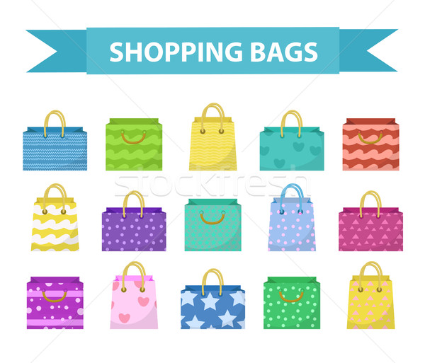 Cute shopping bag set. Colorful  bags with different pattern collection. Flat style. Paper  isolated Stock photo © lucia_fox