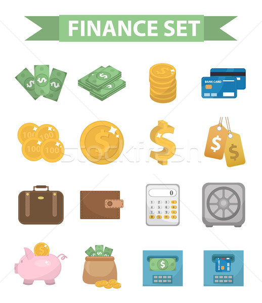 Money and Finance icons, modern flat style. Finance icons collection isolated on white background. M Stock photo © lucia_fox