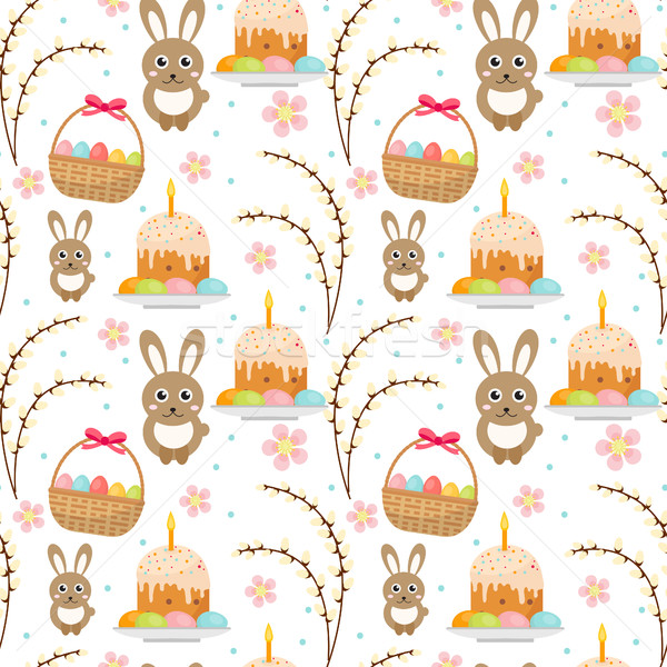 Easter seamless pattern with rabbit, egg basket, cake, pussy willow. Endless Spring background, text Stock photo © lucia_fox