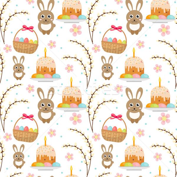 Pasen konijn cake pussy Stockfoto © lucia_fox