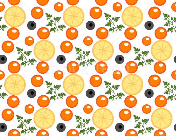Red caviar seamless pattern. Roe endless background, texture, wallpaper. Vector illustration. Stock photo © lucia_fox