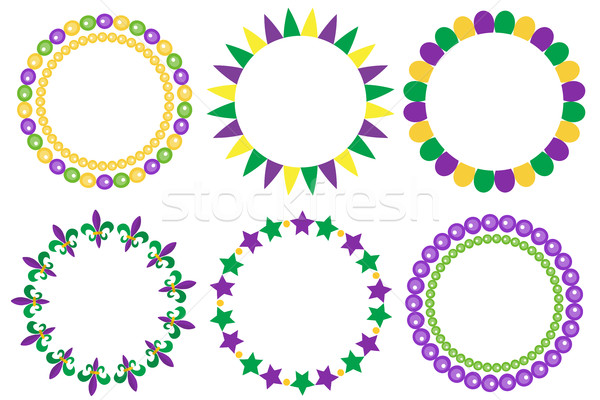 Mardi Gras frame set. Cute round border with space for text. Isolated on white background. Vector il Stock photo © lucia_fox