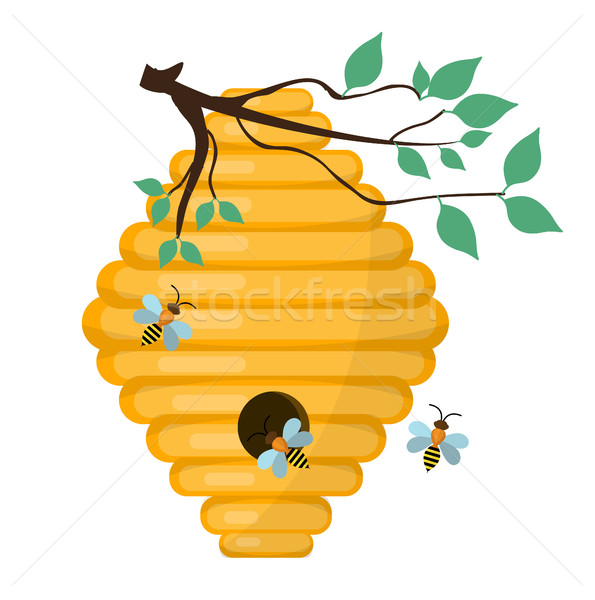 Bee-hive, swarm icon, flat style. Isolated on white background. Vector illustration, clip-art. Stock photo © lucia_fox