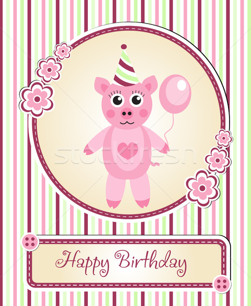 greeting template cute children s birthday party, cartoon pig Stock photo © lucia_fox